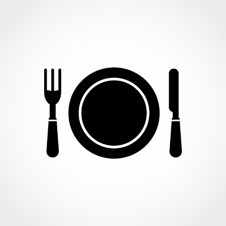 Clean Plate with Knife and Fork Icon Isolated on White Background 向量圖像