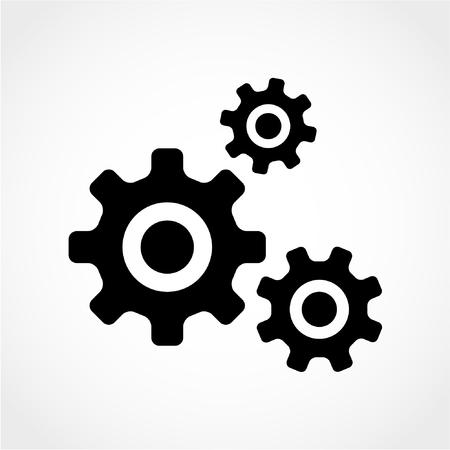 engranes: Icono de engranajes aisladas sobre fondo blanco