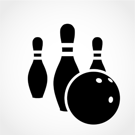skittle: Bowling game sign icon. Ball with pin skittle symbol Isolated on White Background
