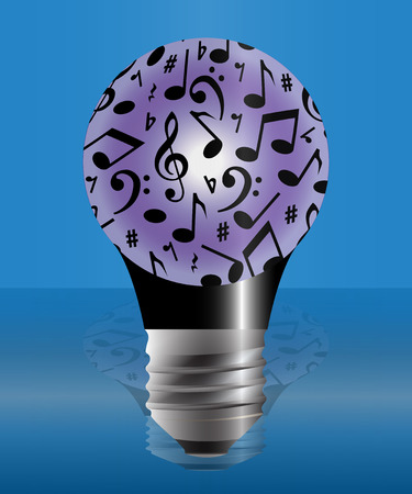 music notes vector: The bulb covered with music notes. Vector image for your design. The background color can be changed. Illustration