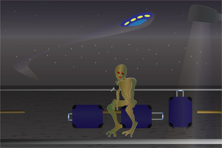 incident: UFO Incident. Cartoon vector for your design.