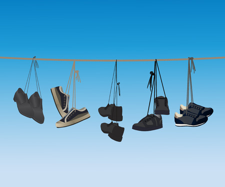 The footwear hanging on a rope. Vector illustration.