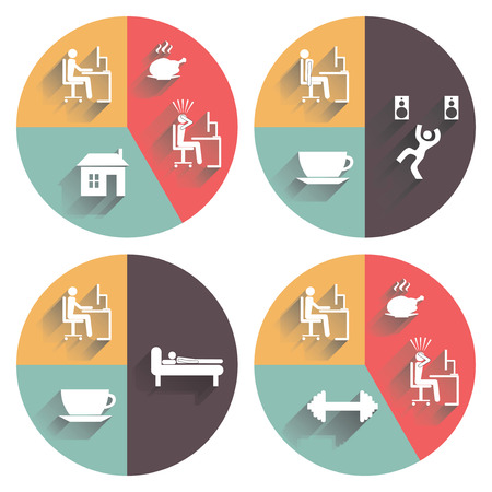 everyday jobs: Daily routine. Vector set for your design.