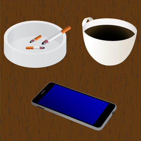 ashtray: Elements for design on the table: cup of coffee, ashtray, cigarettes, mobile device (smartphone). Vector illustration for your design, business, web sites etc.