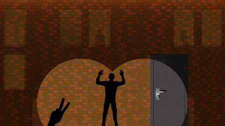 cut off: Shadows on the brick wall. Silhouettes can be changed. Vector illustration. Background. Wallpaper ( real size: 1366x768 (it is possible to cut off well to the smaller sizes: 1024x768,  1280x768, etc ) ).
