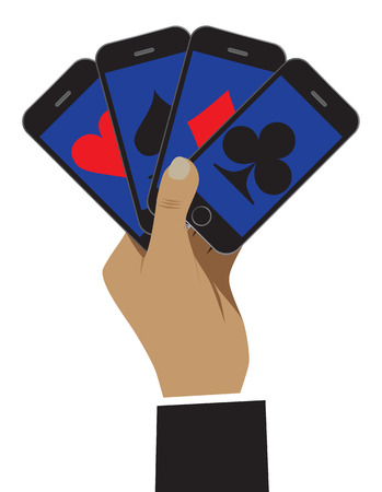 hand holding playing card: The smartphone is shown as playing cards. Business is shown as a risk and play. Vector illustration for your design, business, web sites, etc.