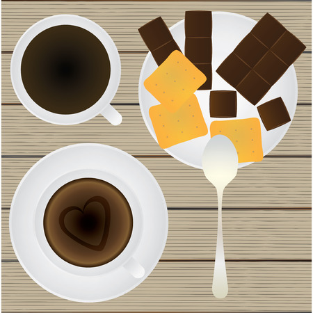 teaspoon: Taza de caf�, platillo, cucharadita, chocolate y galletas sobre una mesa. Vista superior. Ilustraci�n vectorial para su dise�o, negocios, sitios web, etc. Vectores