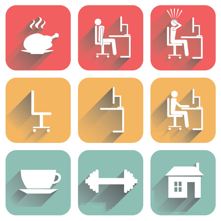 monotony: Flat icons with shadow of objects of daily routine and office. Isolated on white background.