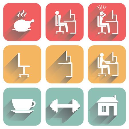 daily routine: Iconos planos con la sombra de los objetos de la rutina diaria y la oficina. Aislado en el fondo blanco. Vectores