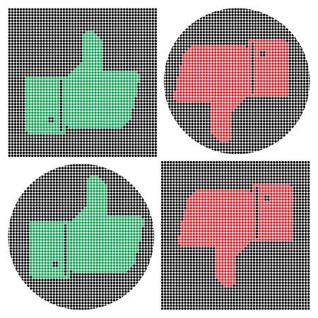 siti web: Icone di pollice Pixel. Come icona. Icona antipatia. Gesti di mano: molto buono, molto male. Illustrazione di vettore per il vostro sito web, progettazione, striscioni, manifesti, ecc