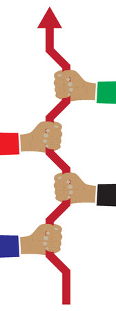 Corporate solidarity. Teamwork. Concept of teamwork that leads company to success. Corporate culture. Vettoriali