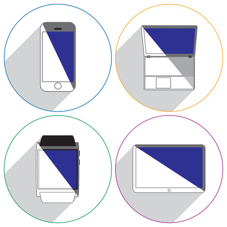 tablet computer: Modern gadgets icons with shadow. Smartphone, laptop, tablet computer, smartwatch. Illustration