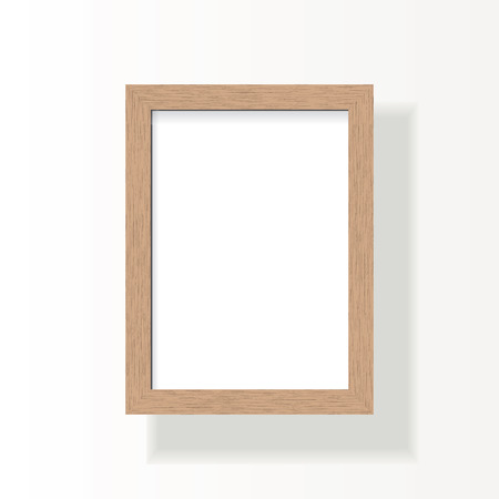 Illustration of an empty wooden frame for A4 image, photo or text. Isolated on background. Vettoriali