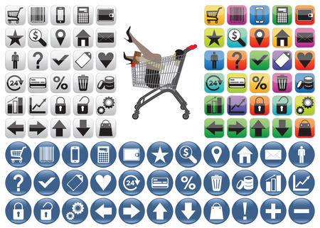 web store: Shopping Icons set and woman in the shopping trolley. The woman can be easily removed (woman is in a separate group). Isolated on white background. Design elements for web sites, web store, mobile applications, posters and other design.