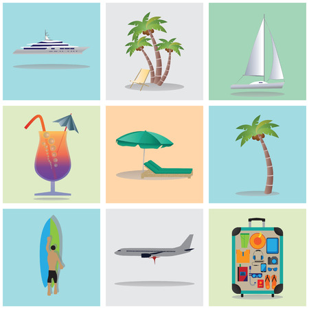 deck chair isolated: Travel, vacation, holiday. Icons. Elements for design: Palm tree, Yacht, Cocktail, surfboard, the plane, suitcase with clothes and other things. Illustration