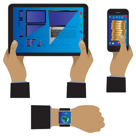 computador tablet: Hand with modern gadgets. Vector illustration. Elements for design: smartphone, smartwatch, tablet computer.