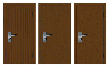 Houten deuren met verschillende textuur. Geïsoleerd op een witte achtergrond.