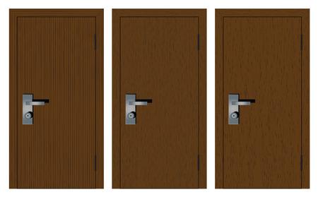 wooden doors: Puertas de madera con diferente textura. Aislado en el fondo blanco.