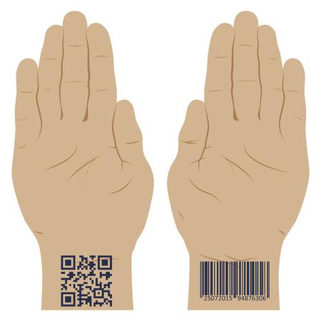 Hand met een barcode. Vector illustratie. Elementen voor het ontwerp. Stockfoto - 44031278