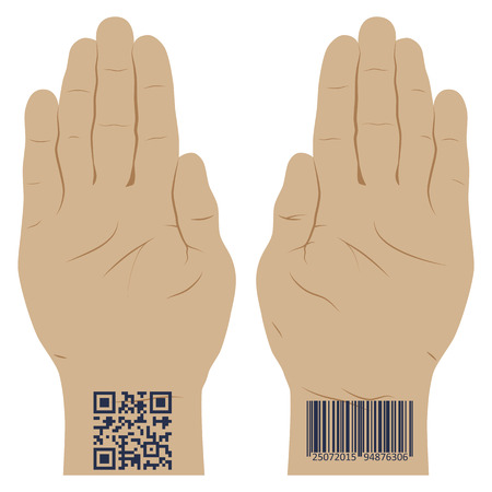 Hand with a bar code. Vector illustration . Elements for design. Illustration