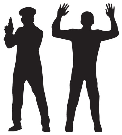 gun shot: Criminal and Police officer. Black silhouettes on a white background. Elements for design.