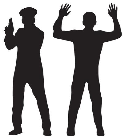 gorra policía: Oficial Criminal y Policía. Siluetas negras sobre un fondo blanco. Elementos para el diseño.