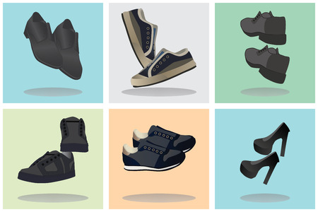 Footwear. Icons. Signs. Elements for your design.