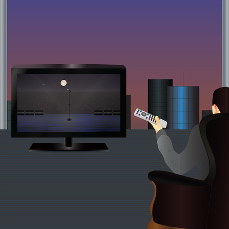 watching tv: The person watching TV. Vector illustration . Elements for design. Illustration