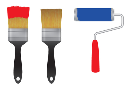 red paint: Brush for paint and the roller for paint. Tool. Elements for design.