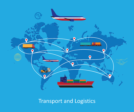 Logistics concept flat banner of maritime, railway, land and air transport on world map background. Illustration