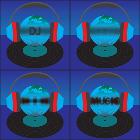 vinyl record: The earth (the globe) with the text, headphones and vinyl record. Elements for design. The text can be easily changed (Transparency_ Opacity =80-90%). Color of a background can be any color.