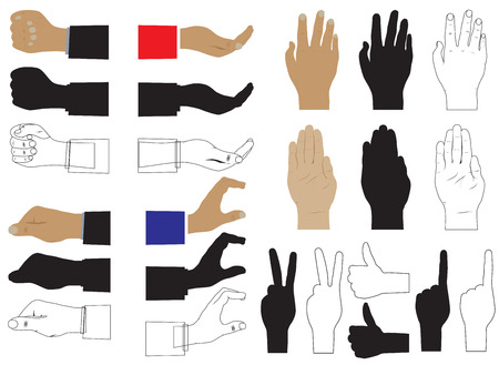 Hand. Various images and silhouettes. Elements for design.