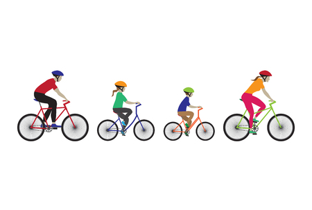 Father, mother and kids biking. Family bicycle tour. Elements for design. Icons. 矢量图像