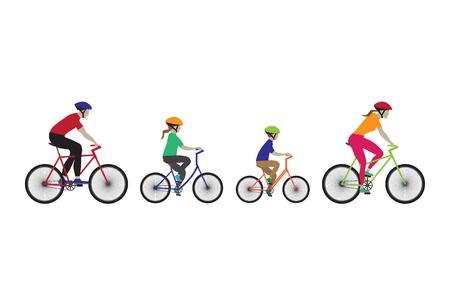 Padre, madre e bambini in bicicletta. giro in bicicletta Famiglia. Elementi per la progettazione. Icone. Archivio Fotografico - 44959555