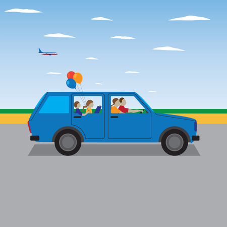 Family traveling by car. Family summer vacation, tourism and journey. Vector illustration. Elements for design. Vettoriali