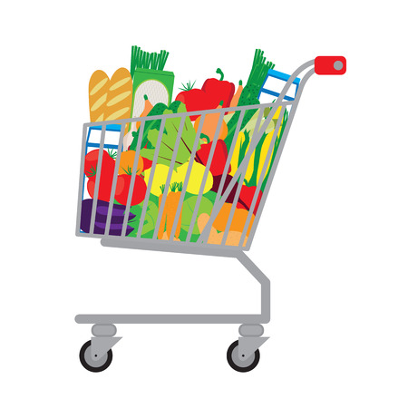 supermarket trolley: Shopping cart with fresh food. Vector illustration. Elements for design. Illustration