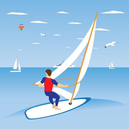 vague ocean: Windsurfer sur vagues de l'oc�an. Illustration, �l�ments de design.
