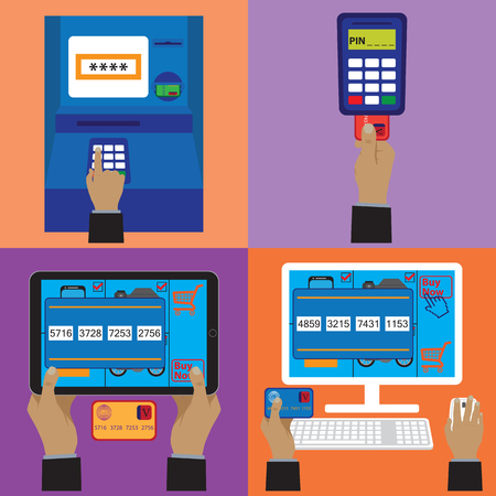 plastic card: Various payment methods. Credit plastic card, online payment, ATM terminal. Elements for design. Illustration