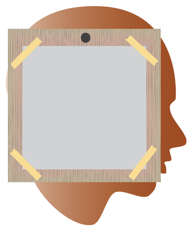 bulletin board: Bulletin board. Board for reminders. Bulletin board nailed to the head. Vector illustration for your design.