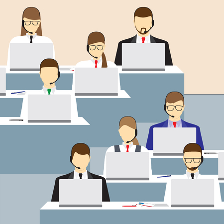 phone support: Men and women working in a call center. Call center. Support service. Concept. Elements for design. Vector illustration.