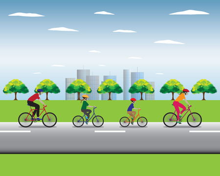 family vacation: Father, mother and kids biking. Family bicycle tour. Vector illustration. Elements for design.