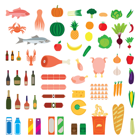 foodstuff: Big collection of food items. Fruit, vegetables, seafood, alcohol, meat, drinks, bread, chicken, etc. Elements for design. Icons.