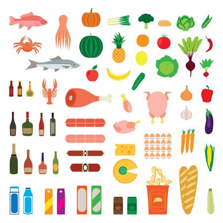 produits alimentaires: Grande collection de produits alimentaires. Fruits, légumes, fruits de mer, de l'alcool, de la viande, des boissons, du pain, poulet, etc. Elements for design. Icônes. Illustration