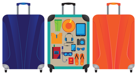 suitcase: Suitcase. A suitcase with things. A suitcase for travel and vacation. Elements for design.