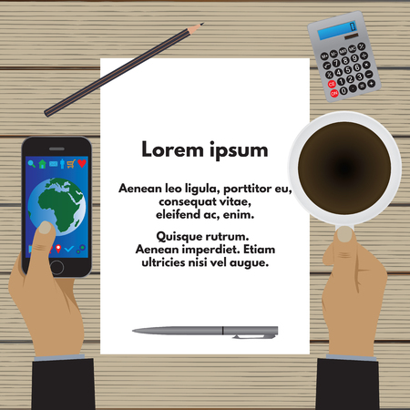 smartphone business: Hands holding a cup of coffee and a smartphone over a wooden table. A sheet of paper with text, images, graphics, etc. Business concept. Business morning, lunch. Top view.