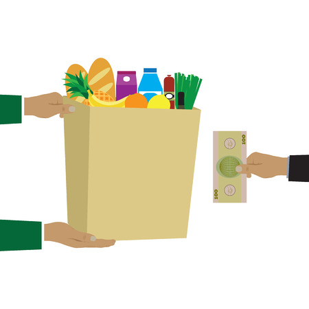 paper delivery person: Colorful vector illustration concept for grocery delivery.