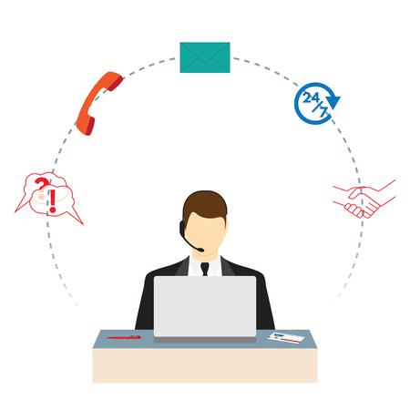 Call center. Support service. Concept flat illustration. Elements for design.