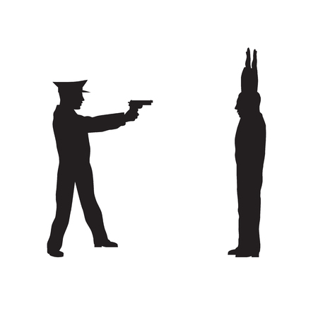 offender: Criminal, offender and Police officer. Black silhouettes on a white background. Elements for design. Illustration