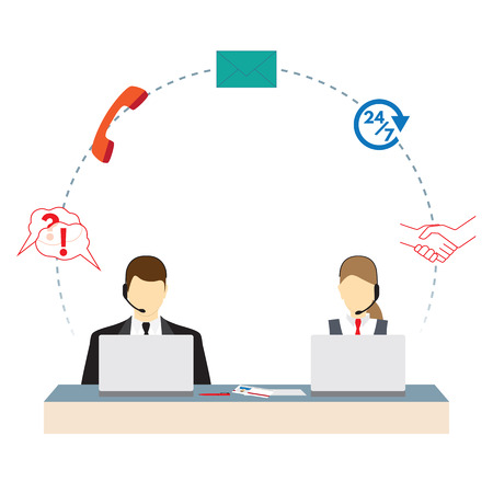 Call center. Support service. Concept. Elements for design.