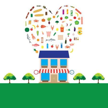 produits alimentaires: Épicerie avec grande collection de produits alimentaires. Elements for design. Vector illustration. Illustration